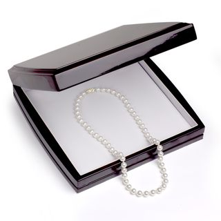 DaVonna 18k Gold High Luster FW Pearl Necklace with Wood Gift Box (9