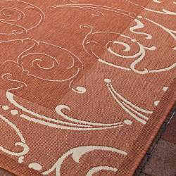 Indoor/ Outdoor Oasis Terracotta/ Natural Rug (710 Square
