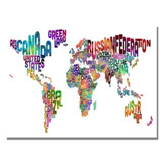 Michael Tompsett Typography World Map III Canvas Art