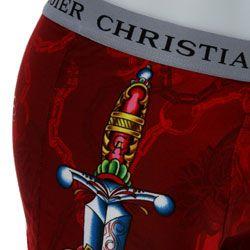 Christian Audigier Mens Black/ Red Print Boxer Brief