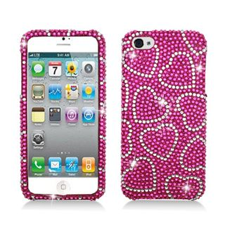 BasAcc Full Diamonds Hot Pink Hearts Case for Apple iPhone 5