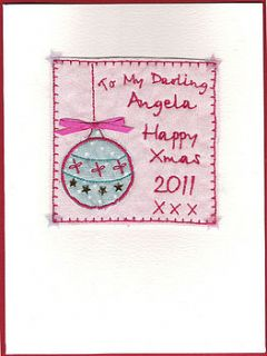 personalised embroidered christmas card by laura windebank designs