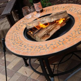 Spanish Sun Terra Cotta Mosaic 36 Inch Round Fire Pit   Wood Burning