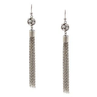 Morgan Ashleigh Silverplated Clear Glass Tassel Earrings