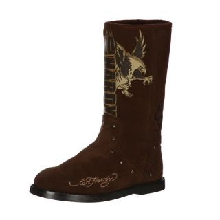 Ed Hardy Womens Montana Brown Fleece Lined Suede Logo Boot