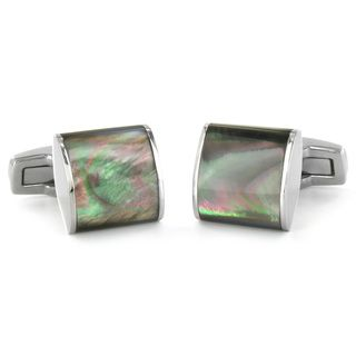 West Coast Jewelry Stainless Steel Mother of Pearl Inlay Square Cuff