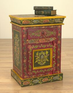 Hand painted Solid Wood End Table (India)