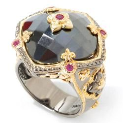 Michael Valitutti Palladium Silver Hematite and Ruby Ring