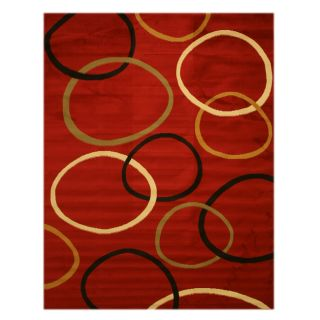 Pat Circles Abstract Red Rug (710 x 106)