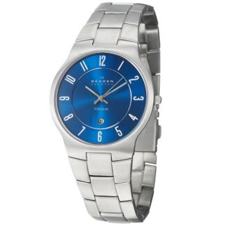 Skagen Mens Titanium Case and Bracelet Blue Dial Quartz Watch