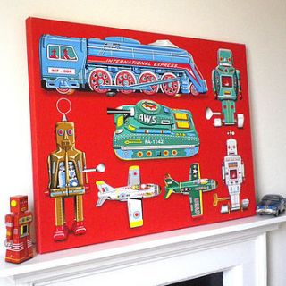tin toy art picture canvas print by glyn west design