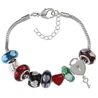La Preciosa Silvertone Multi colored Glass Heart Bead Charm Bracelet