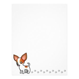 Cartoon Chihuahua (red parti smooth coat) letterhead by SugarVsSpice