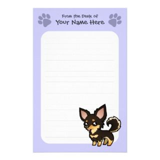 Cartoon Chihuahua (black and tan long coat) stationery by SugarVsSpice