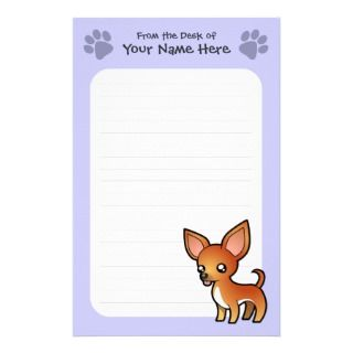 Cartoon Chihuahua (red and white smooth coat) Customized Stationery