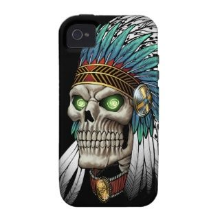 Native American Indian Tribal Gothic Skull Vibe iPhone 4 Cases