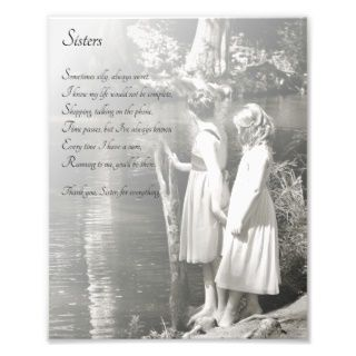 Two Little Girls Sisters Thank You Poem Print Photo