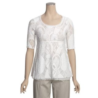 Sno Skins French Lace Shirt   Scoop Neck, Short Sleeve (For Women