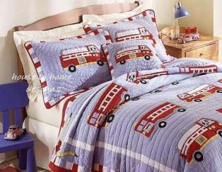 Full Queen QUILT SET   BOYS ENGINE FIREMAN FIREFIGHTER BED COMFORTER