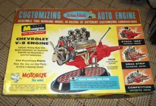 Monogram Big 1 8 Scale Chevy V8 Drag Engine Model Kit Parts