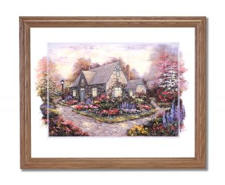 French Flowers Cottage Landscape Wall Picture Oak Framed Art Print