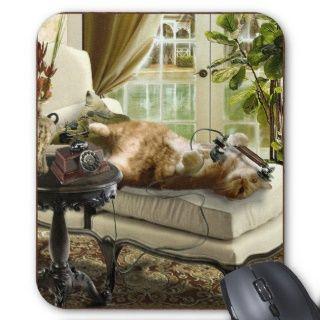 Mausunterlage, Katze, die am Telefon spricht Mauspad